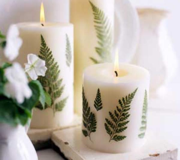 Ideas sencillas velas con helechos - Mesas de navidad decoradas sencillas ...